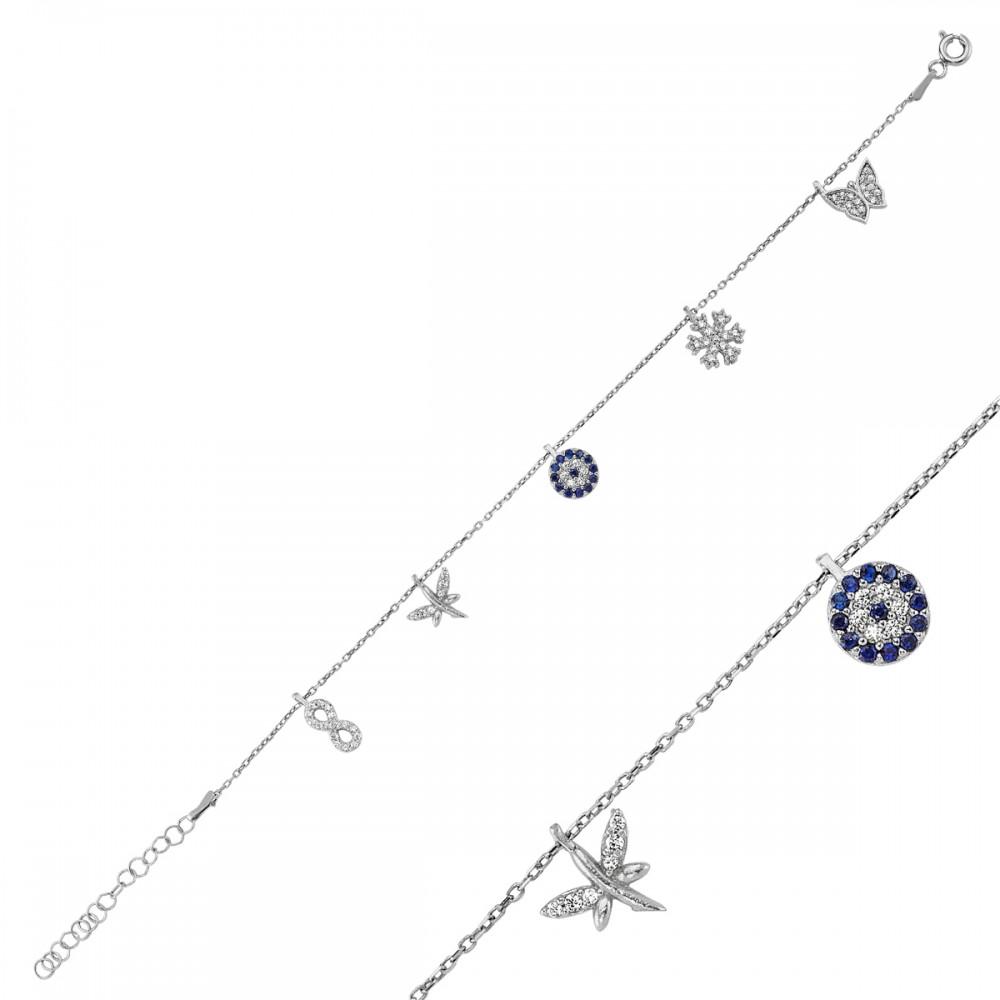 Beş Figürlü Şans Gümüş Bileklik Bayan MYB0108 5864 Thumb