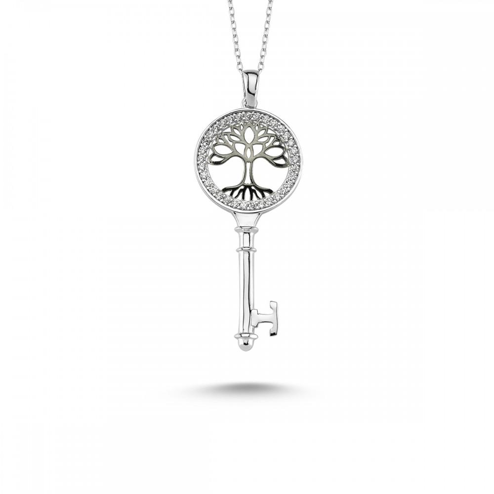 Anahtar Hayat Ağacı Gümüş Kolye MY101125 7754 Thumb