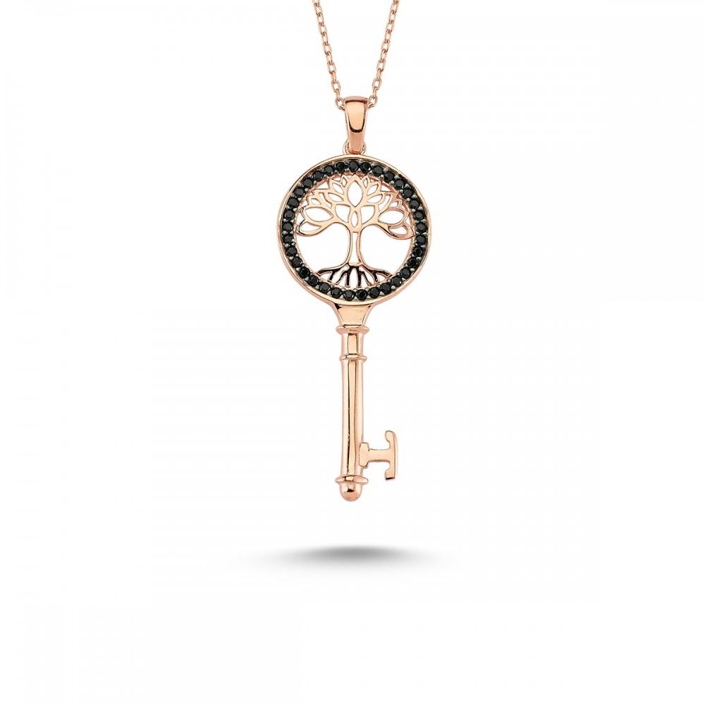 Anahtar Hayat Ağacı Gümüş Kolye MY101125R 7756 Thumb