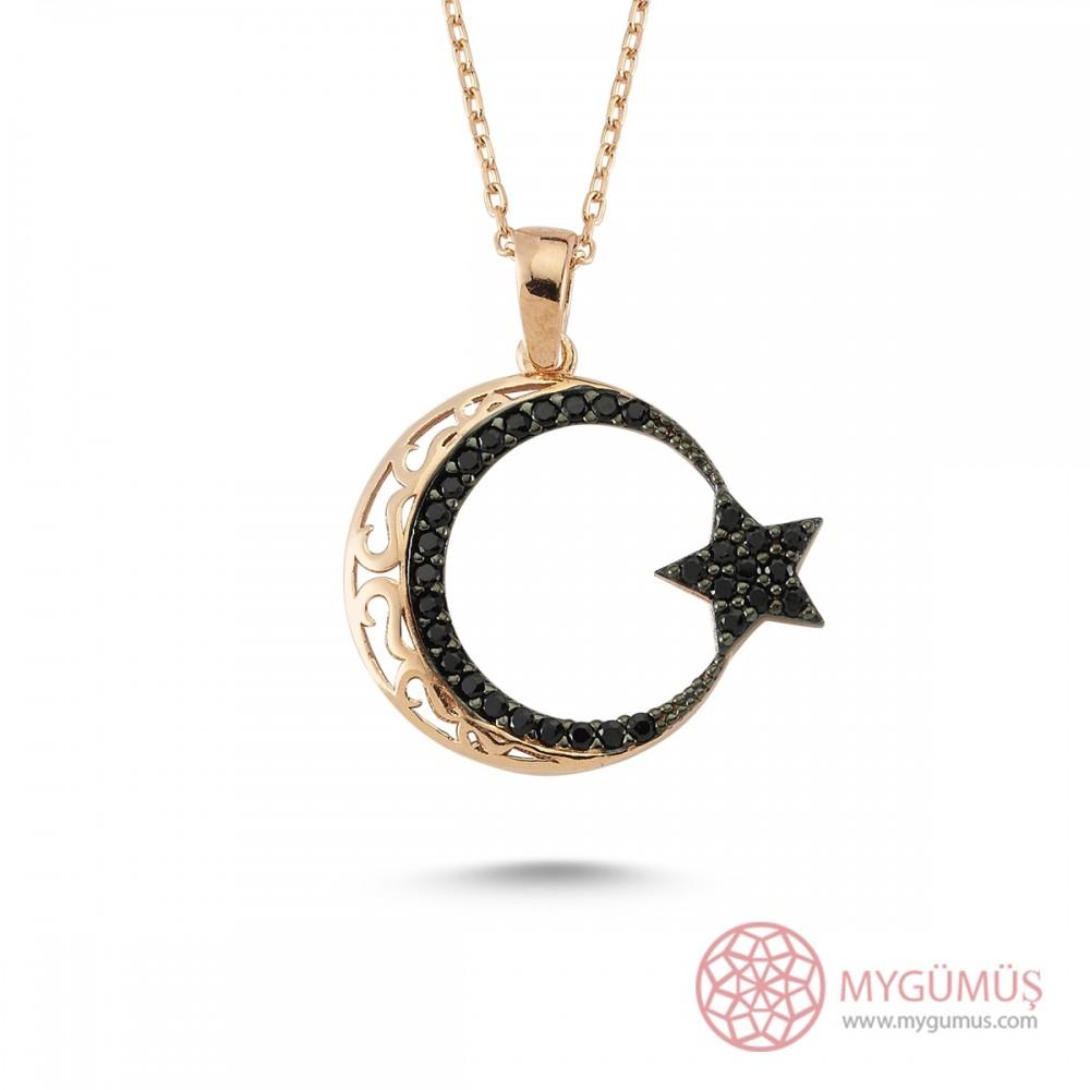 Safir Taşlı Ay Yıldız Gümüş Kolye MY100121R 7957 Thumb