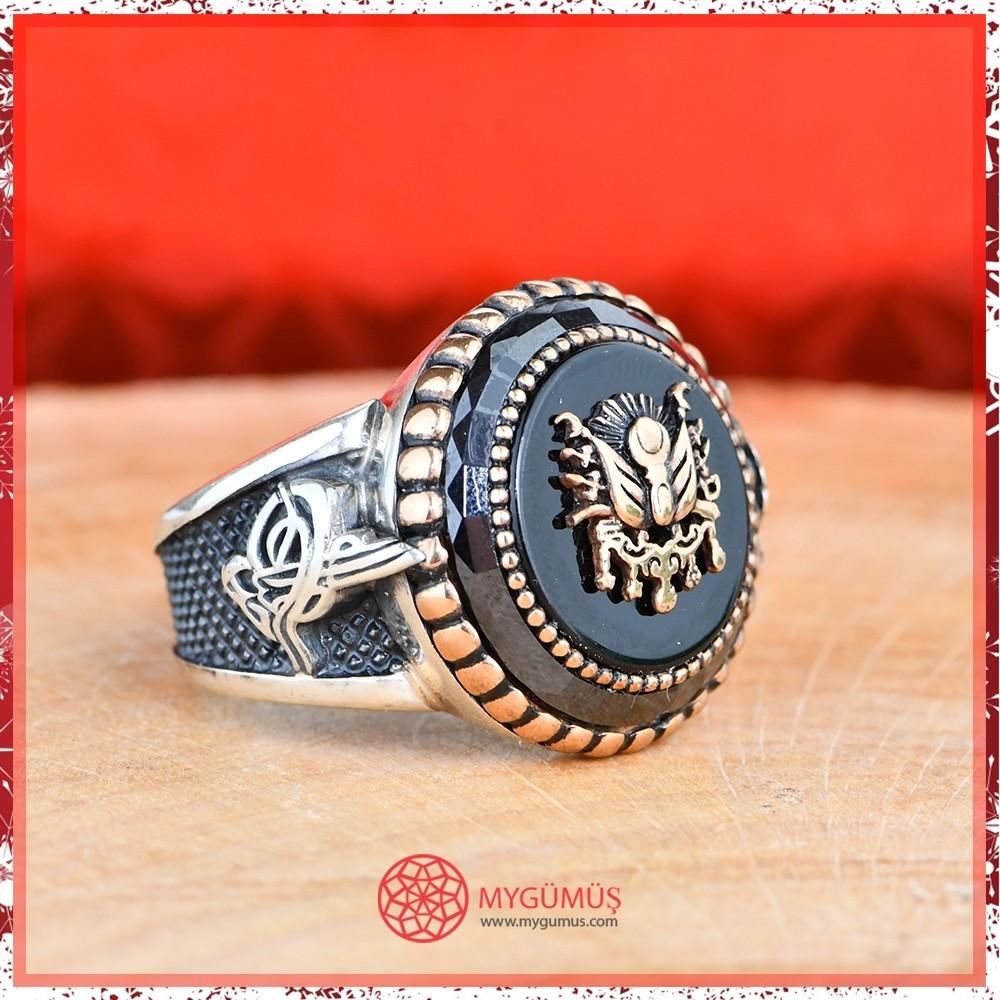 Tuğra Motifli Şehzade Erkek Gümüş Yüzük MY101209 10569 Thumb