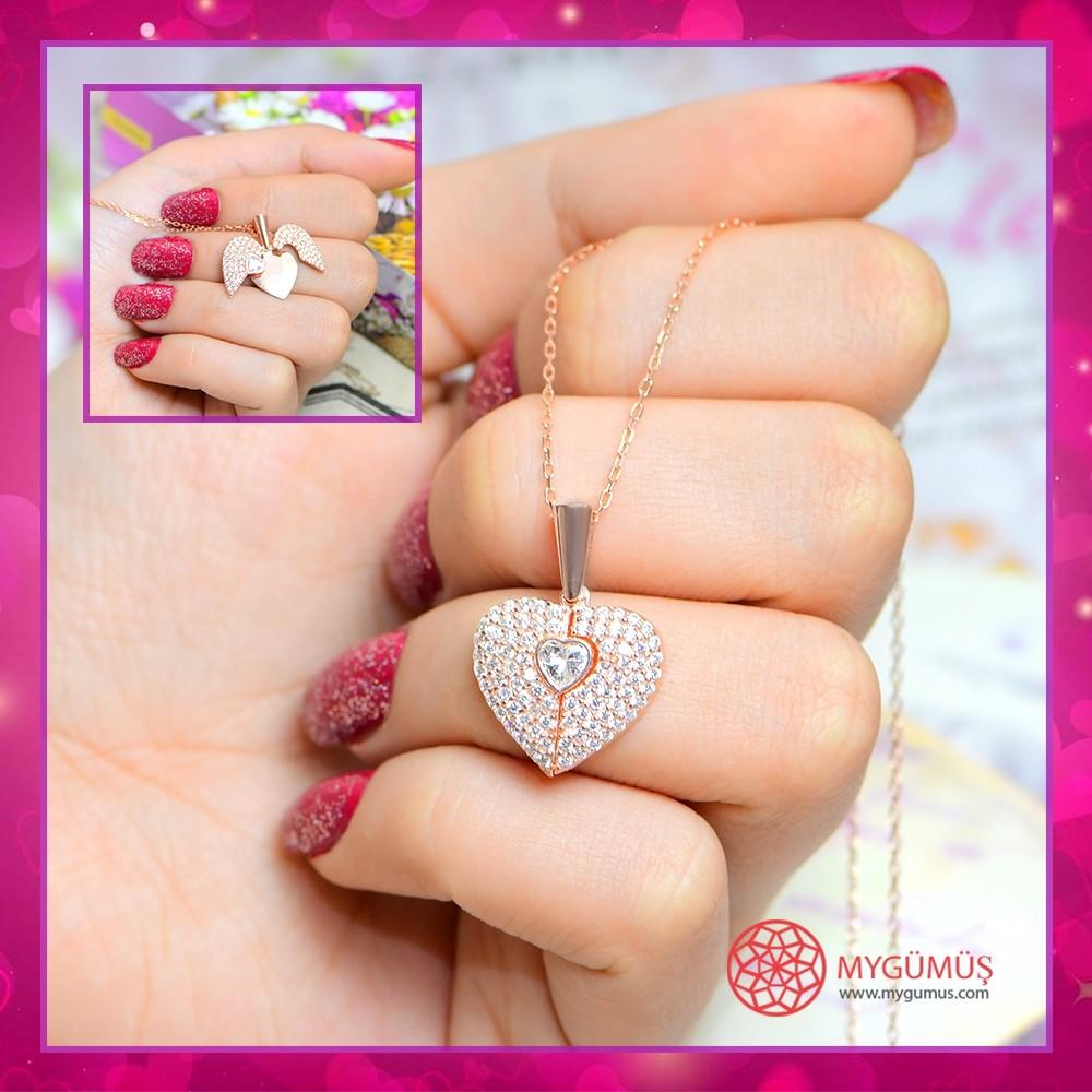 İsme Özel Sihirli Kalp Gümüş Kolye MY101442 10693 Thumb