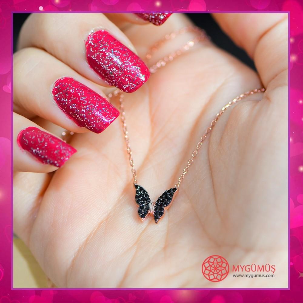 Minik Gümüş Kelebek Kolye MY100059 10677 Thumb