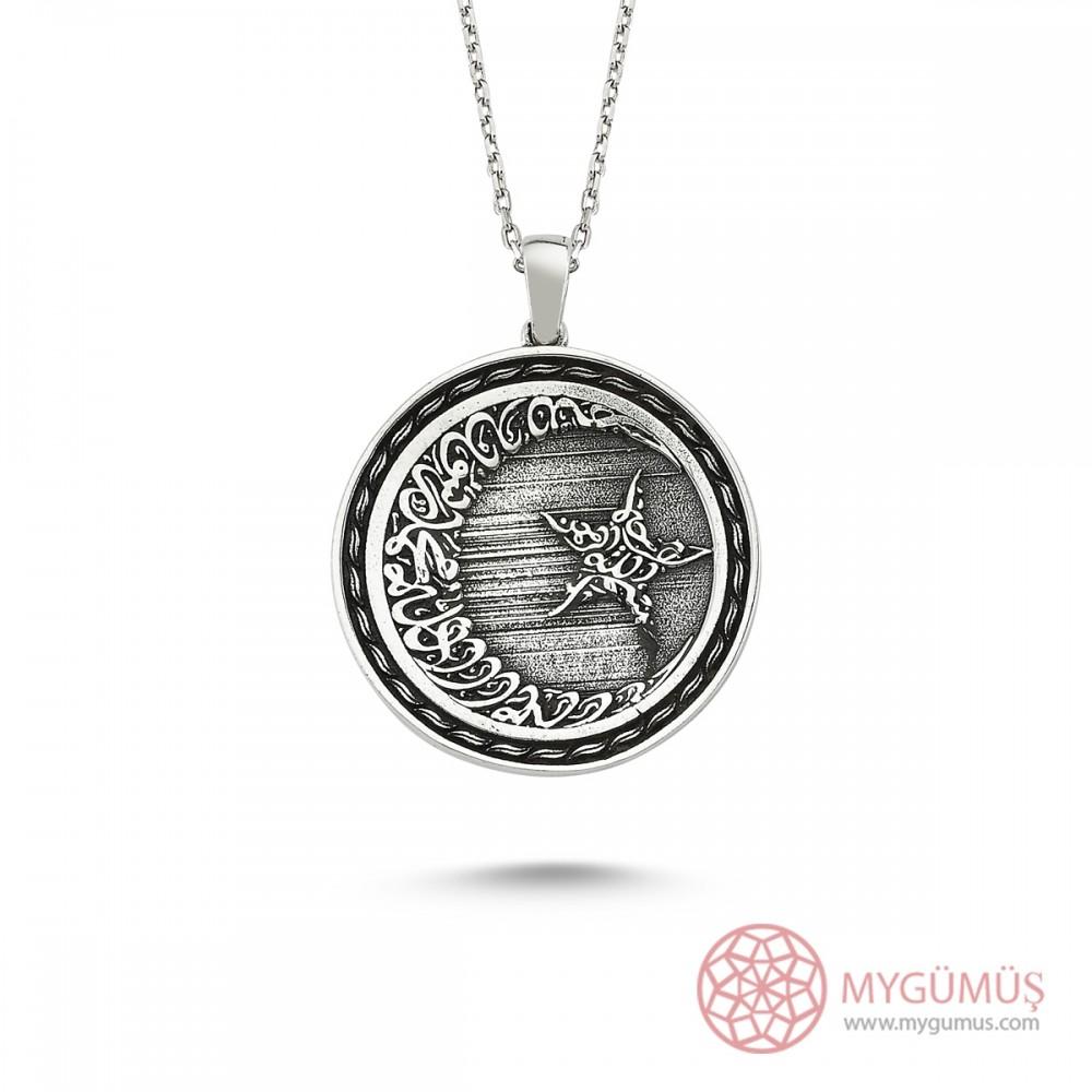 Allah C.C Yazılı Ay Yıldız Erkek Gümüş Kolye MY101157 8380 Thumb