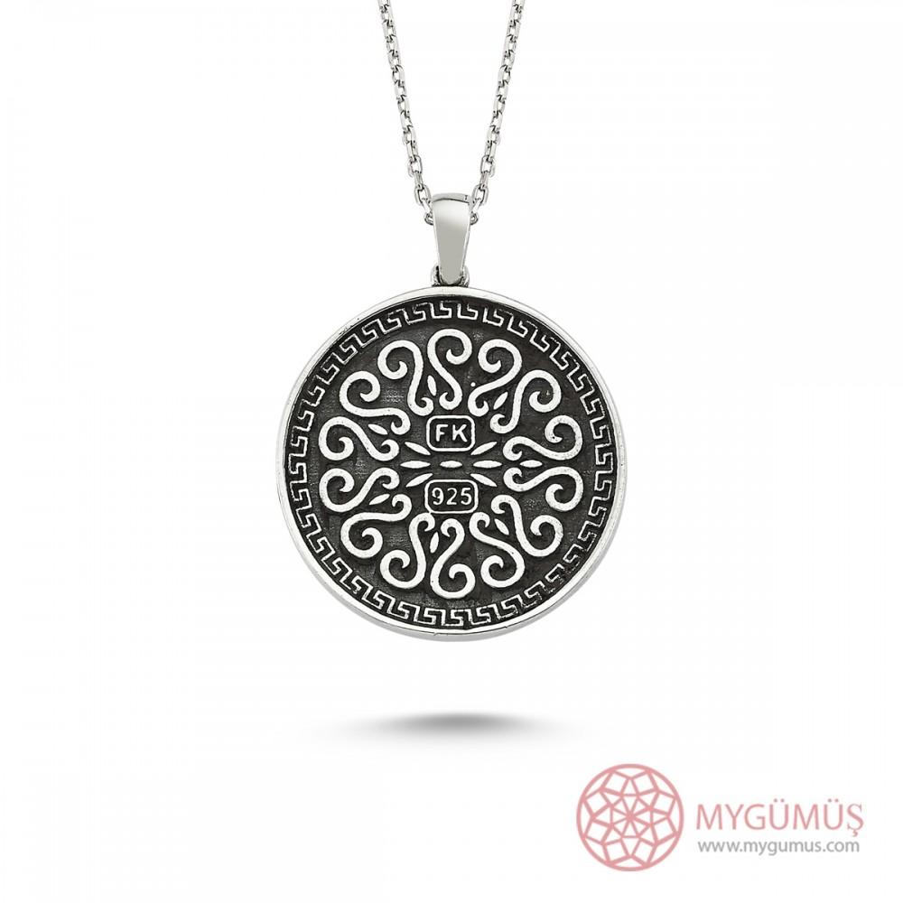 Allah C.C Yazılı Ay Yıldız Erkek Gümüş Kolye MY101157 8379 Thumb
