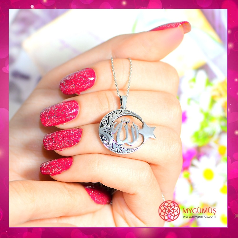 Allah C.C Yazılı Ay Yıldız Gümüş Kolye MY100125 10678 Thumb