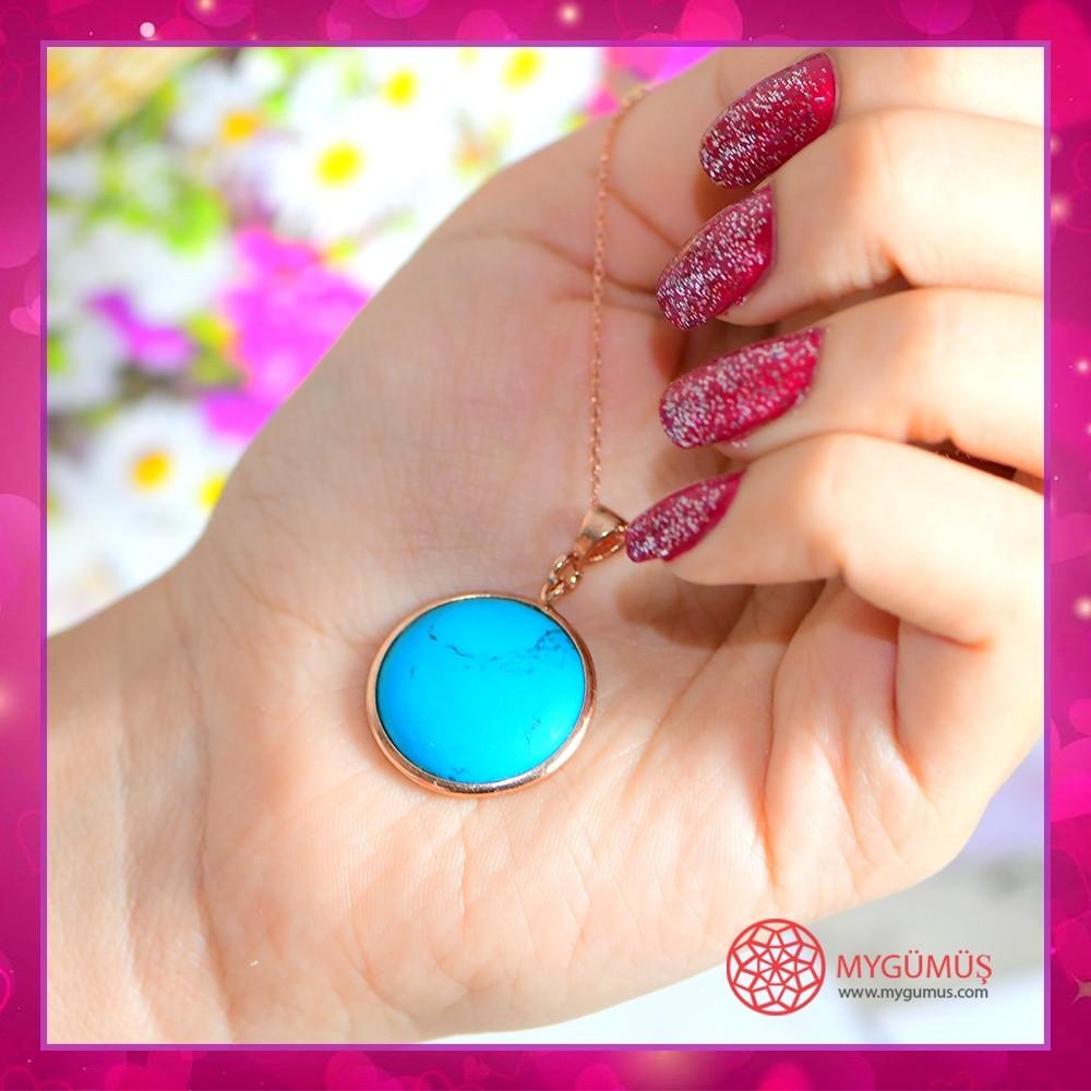 Turkuaz Madalyon Gümüş Kolye MY101749 10679 Thumb