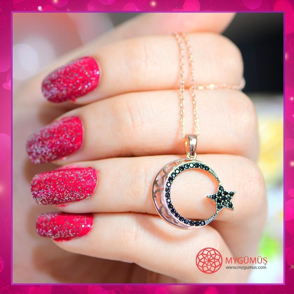 Safir Taşlı Ay Yıldız Gümüş Kolye MY100121R 10681 Thumb