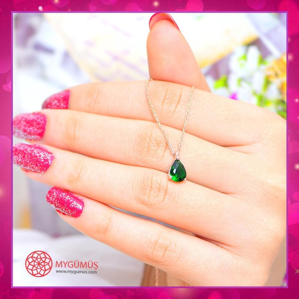 Yeşil Damla Gocce Gümüş Kolye MY101662 10689 Thumb