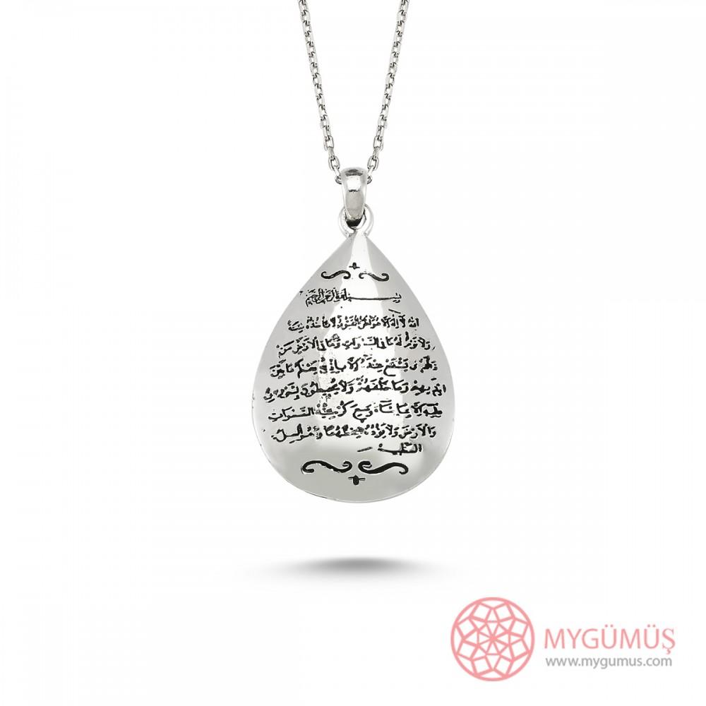 Ayet-El Kürsi Yazılı Damla Gümüş Kolye MY0100122 6011 Thumb