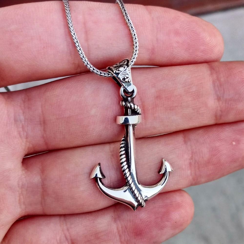 Gemi Çapası Motifli Erkek Gümüş Kolye MY01034 11236 Thumb