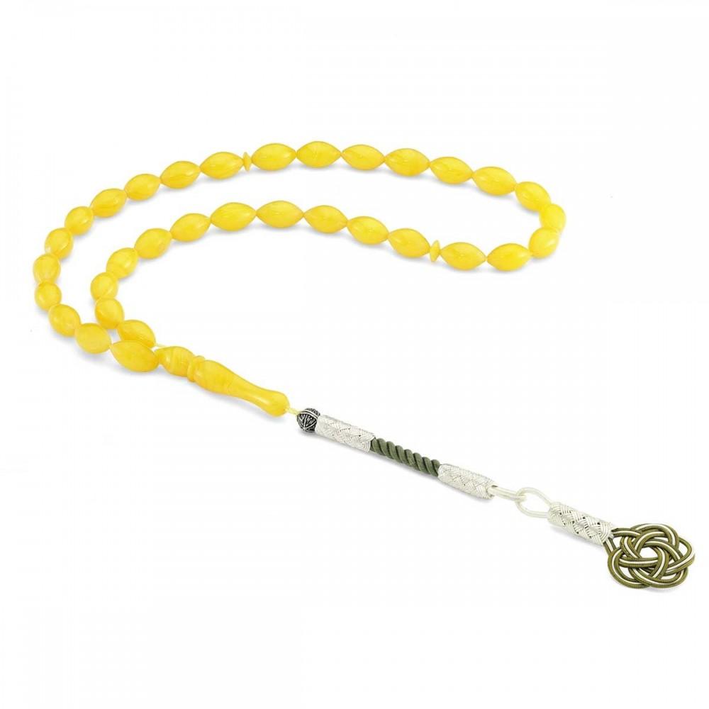 925 Ayar Gümüş Kazaz Püsküllü Sarı Renk Sıkma Kehribar Tesbih MY260794 8263 Thumb