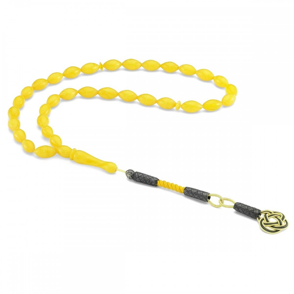 925 Ayar Gümüş Kazaz Püsküllü Sarı Renkli Sıkma Kehribar Tesbih MY260796 8262 Thumb