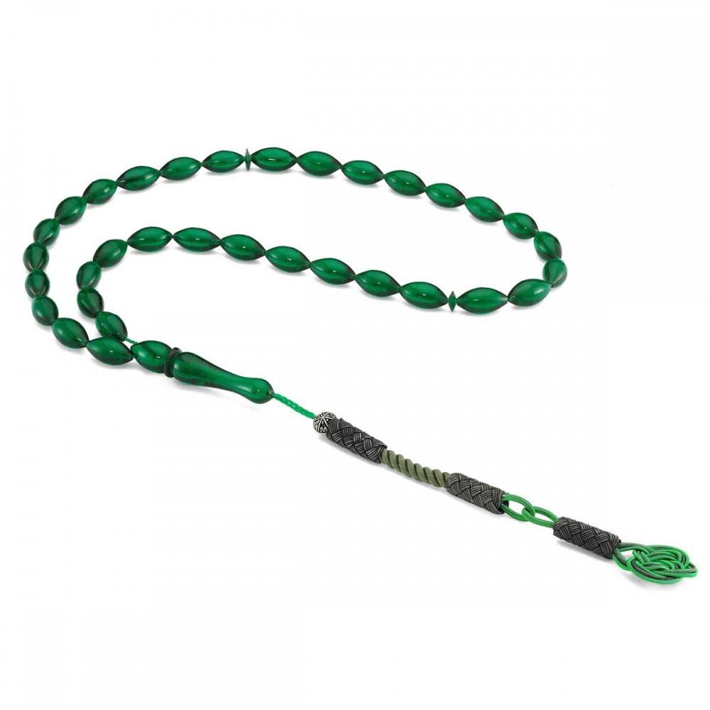 925 Ayar Gümüş Kazaz Püsküllü Yeşil Renkli Sıkma Kehribar Tesbih MY260790 8266 Thumb