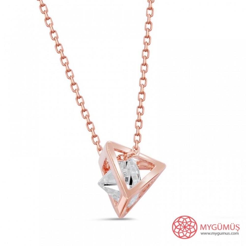 Kafesli Piramit Tek Taş Gümüş Kolye MY101348 9366 Thumb