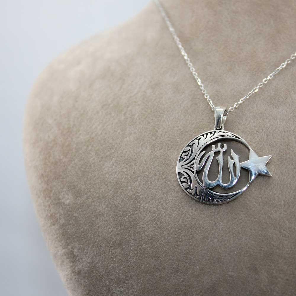 Allah C.C Yazılı Ay Yıldız Gümüş Kolye MY100125 7769 Thumb