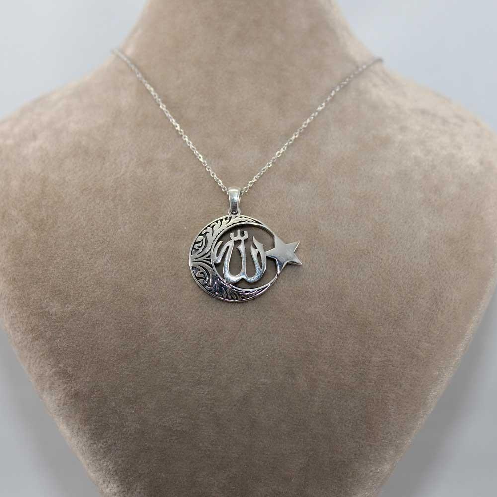 Allah C.C Yazılı Ay Yıldız Gümüş Kolye MY100125 7768 Thumb
