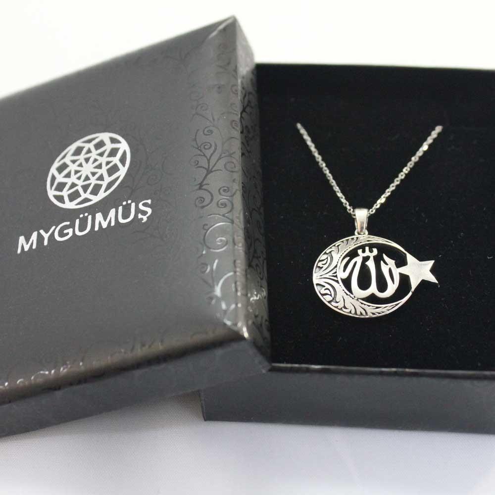 Allah C.C Yazılı Ay Yıldız Gümüş Kolye MY100125 7767 Thumb
