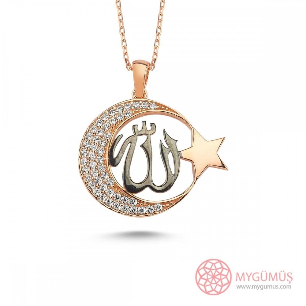 Allah C.C Yazılı Ay Yıldız Gümüş Kolye MY101500 9901 Thumb