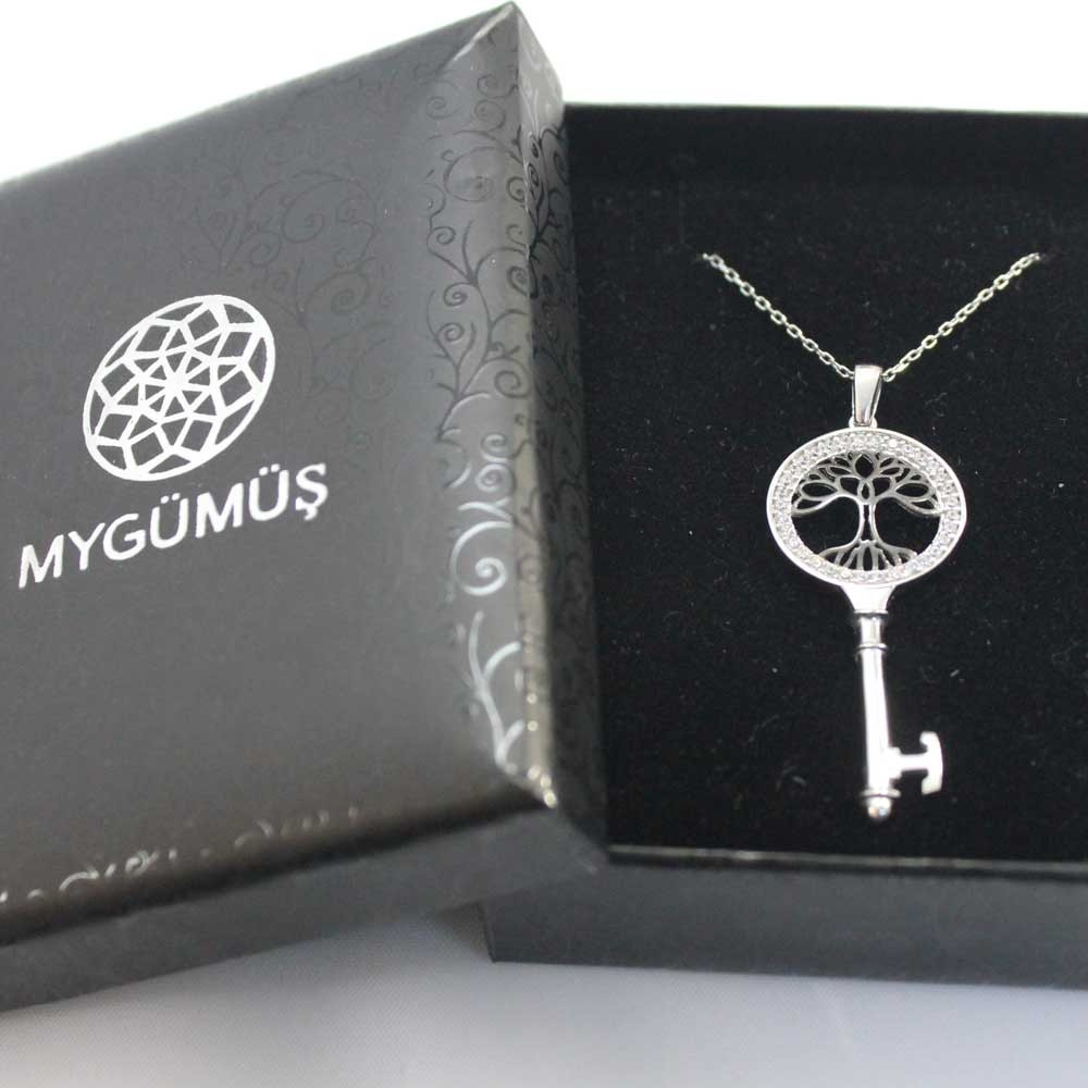 Anahtar Hayat Ağacı Gümüş Kolye MY101125 7891 Thumb