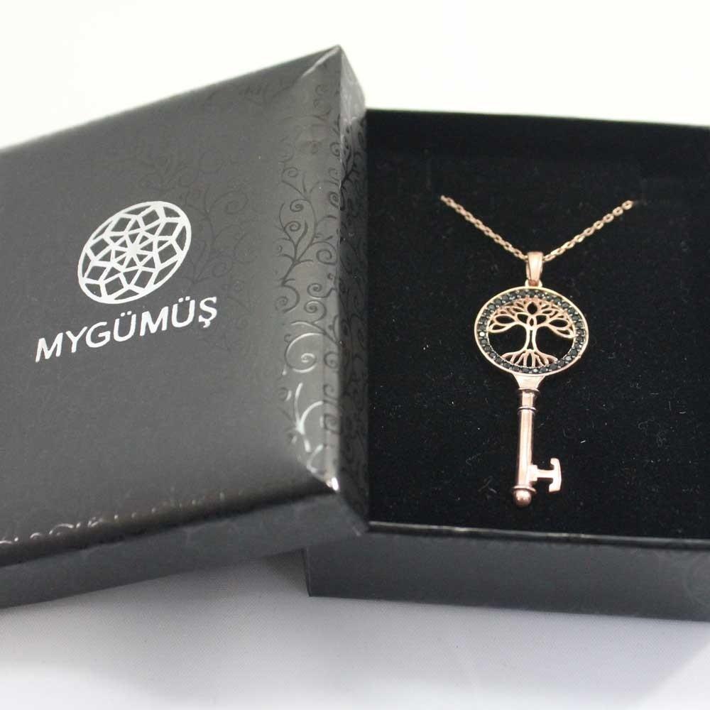 Anahtar Hayat Ağacı Gümüş Kolye MY101125R 7887 Thumb
