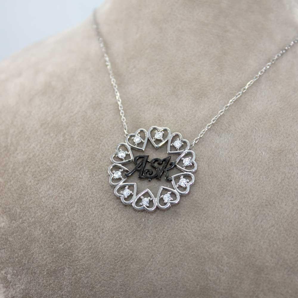Aşk Yazılı Gümüş Kalpler Kolye MY100111 7916 Thumb