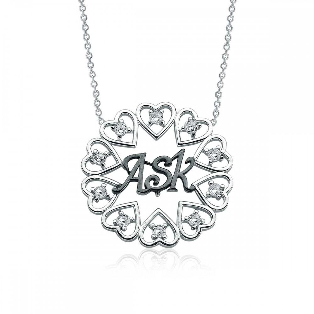 Aşk Yazılı Gümüş Kalpler Kolye MY100111 8763 Thumb