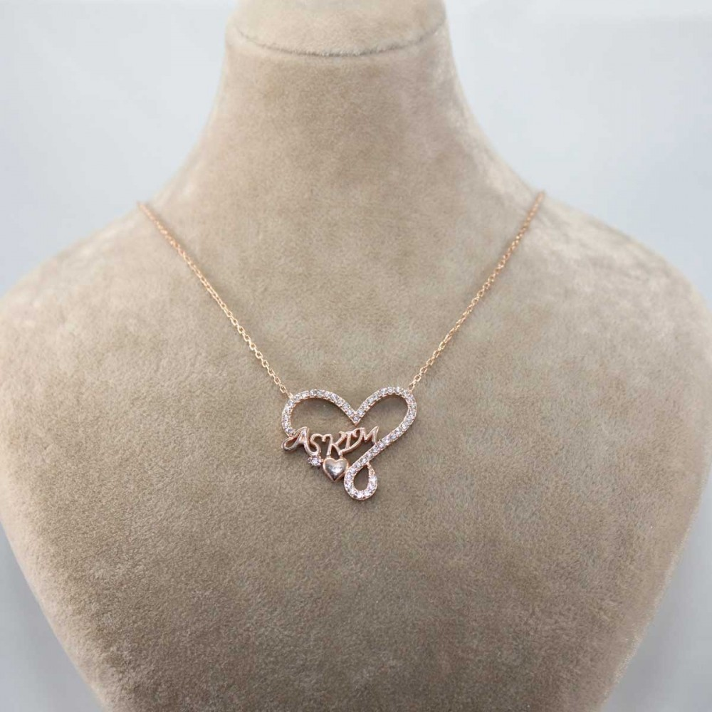 Aşkım Yazılı Kalp Gümüş Kolye MY101255 8926 Thumb