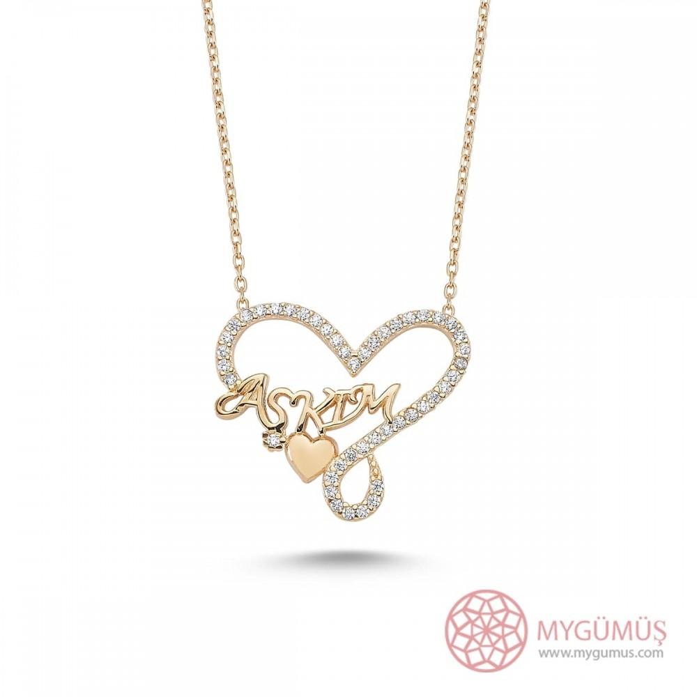 Aşkım Yazılı Kalp Gümüş Kolye MY101255 8783 Thumb