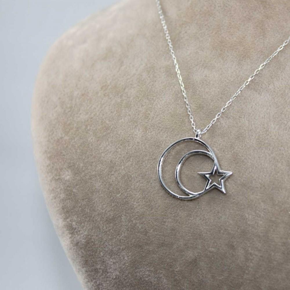 Ay Yıldız Bayan Gümüş Kolye MY101208 9002 Thumb