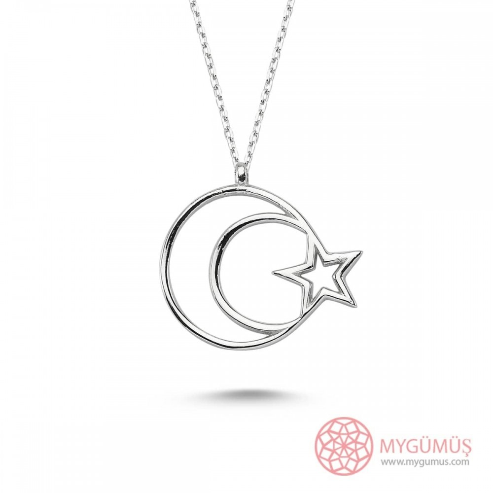 Ay Yıldız Bayan Gümüş Kolye MY101208 9479 Thumb
