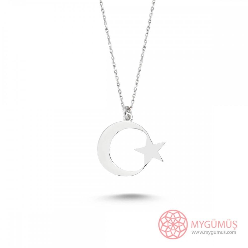Ay Yıldız Gümüş Kolye MY101190 9480 Thumb