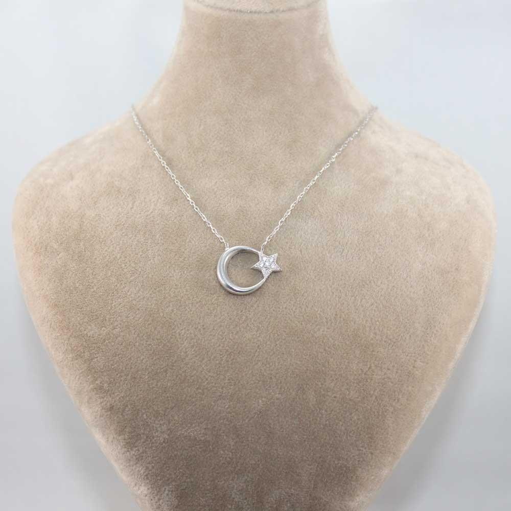 Ay Yıldız Taşlı Gümüş Kolye MY100057 8035 Thumb