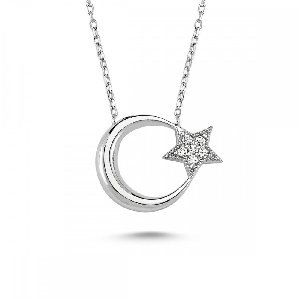 Ay Yıldız Taşlı Gümüş Kolye MY100057 9488 Thumb