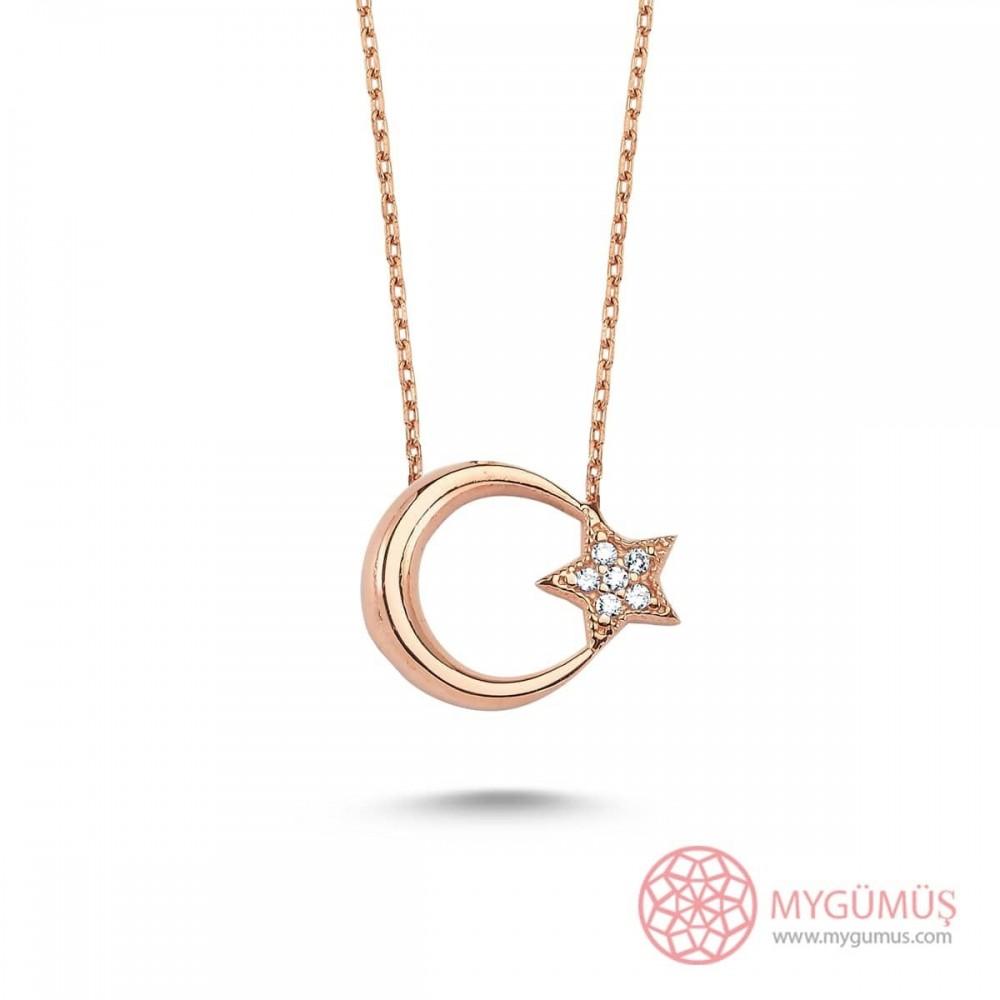 Ay Yıldız Taşlı Gümüş Kolye MY101318 9478 Thumb