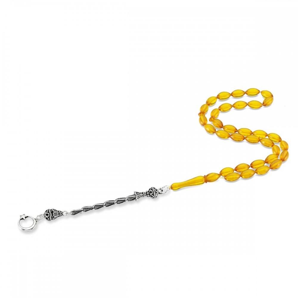 Ay Yıldız Gümüş Püsküllü Hardal Renk Sıkma Kehribar Tesbih MY0050 8410 Thumb