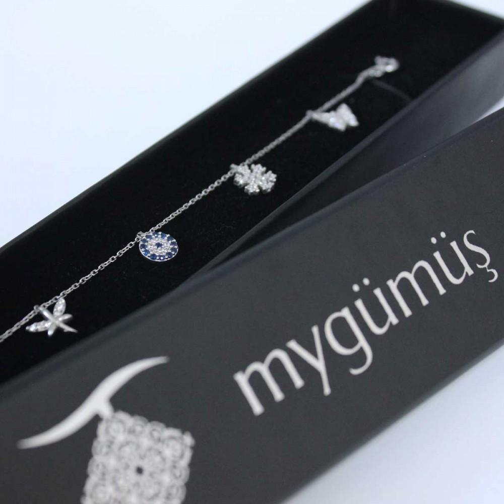 Beş Figürlü Şans Gümüş Bileklik Bayan MYB0108 6914 Thumb