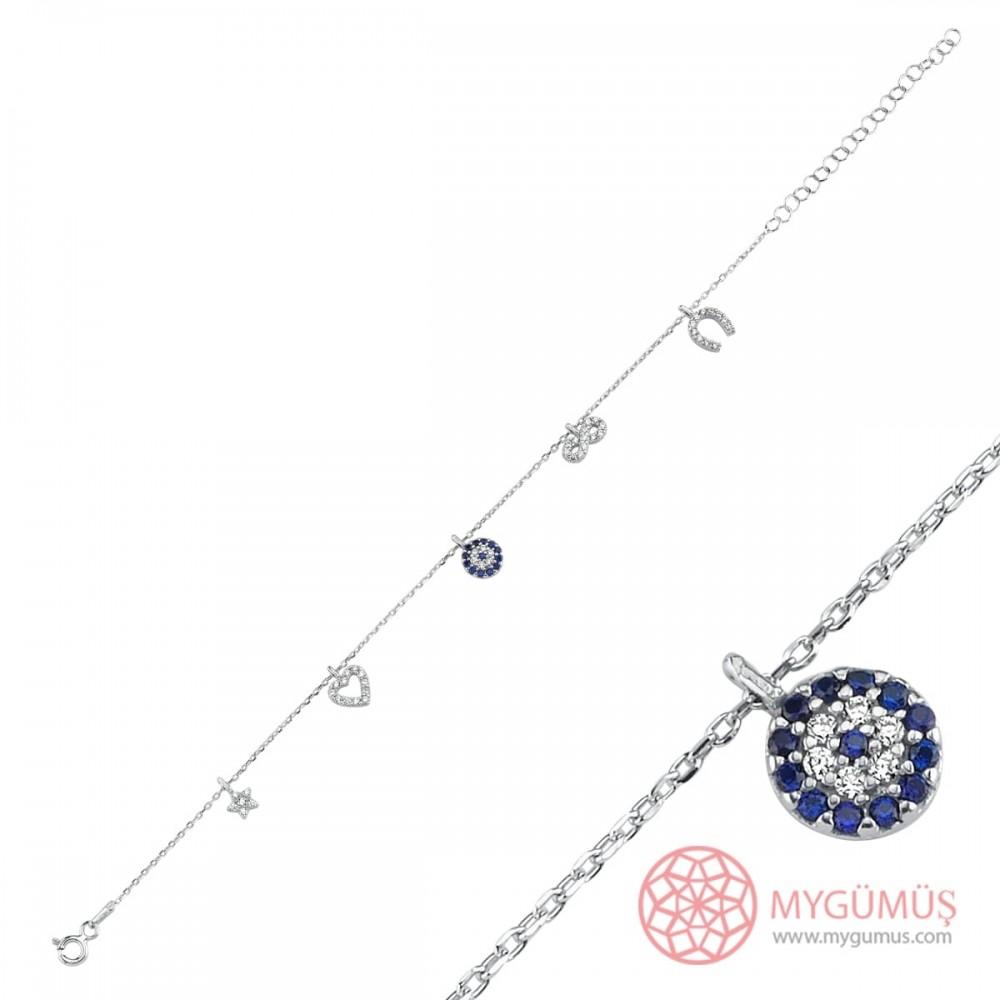 Beş Figürlü Şans Gümüş Bileklik Bayan MYB0108 10763 Thumb