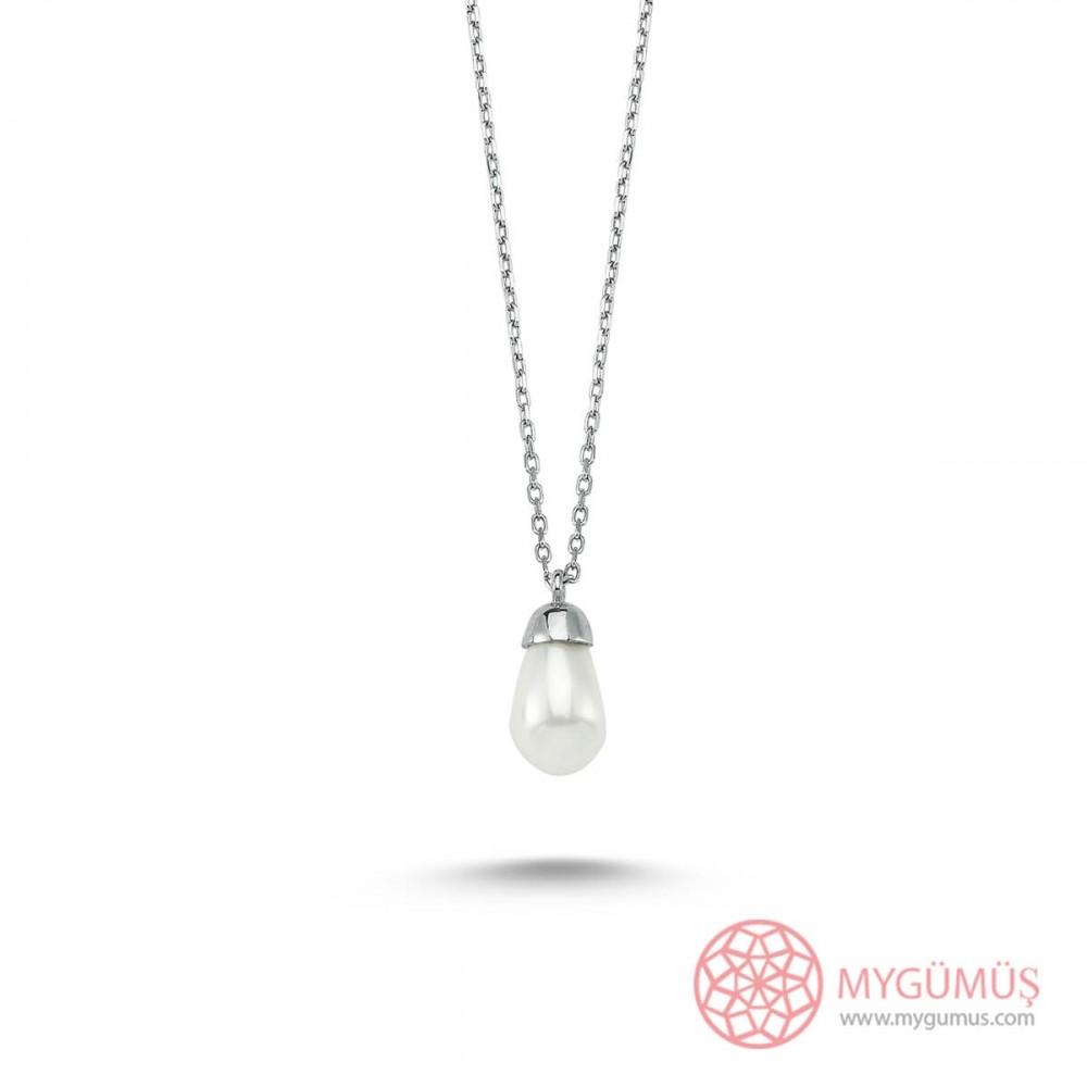 Beyaz İnci Gümüş Kolye MY101355 9515 Thumb