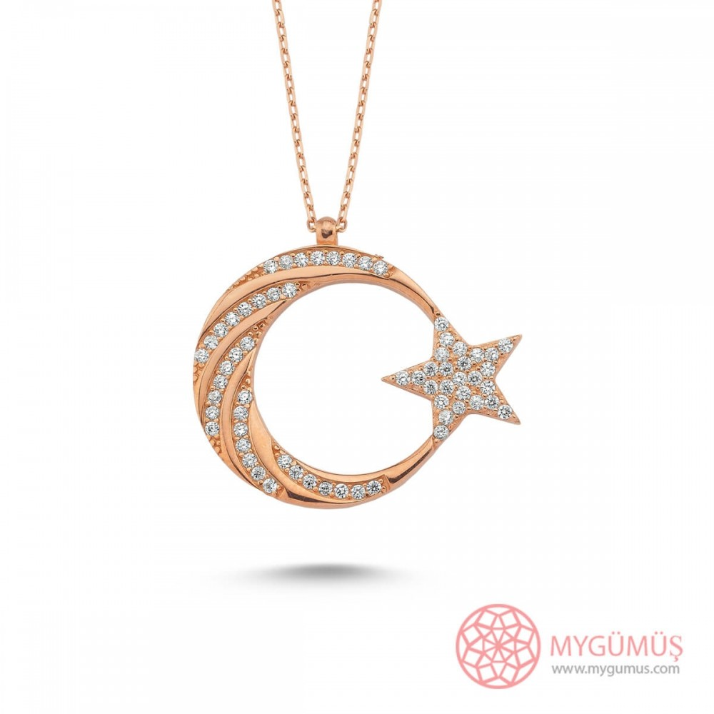 Burgu Taş İşlemeli Ay Yıldız Gümüş Kolye MY101799 10583 Thumb