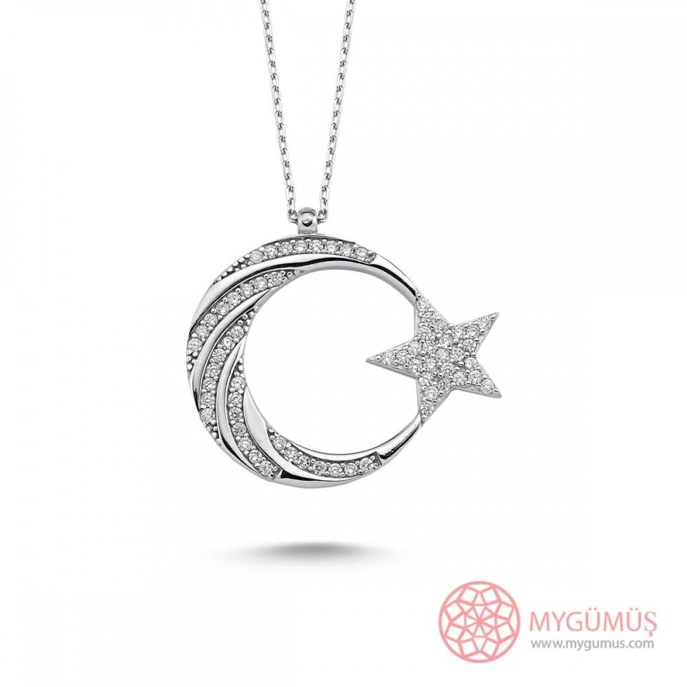 Burgu Taş İşlemeli Ay Yıldız Gümüş Kolye MY101800 10584 Thumb