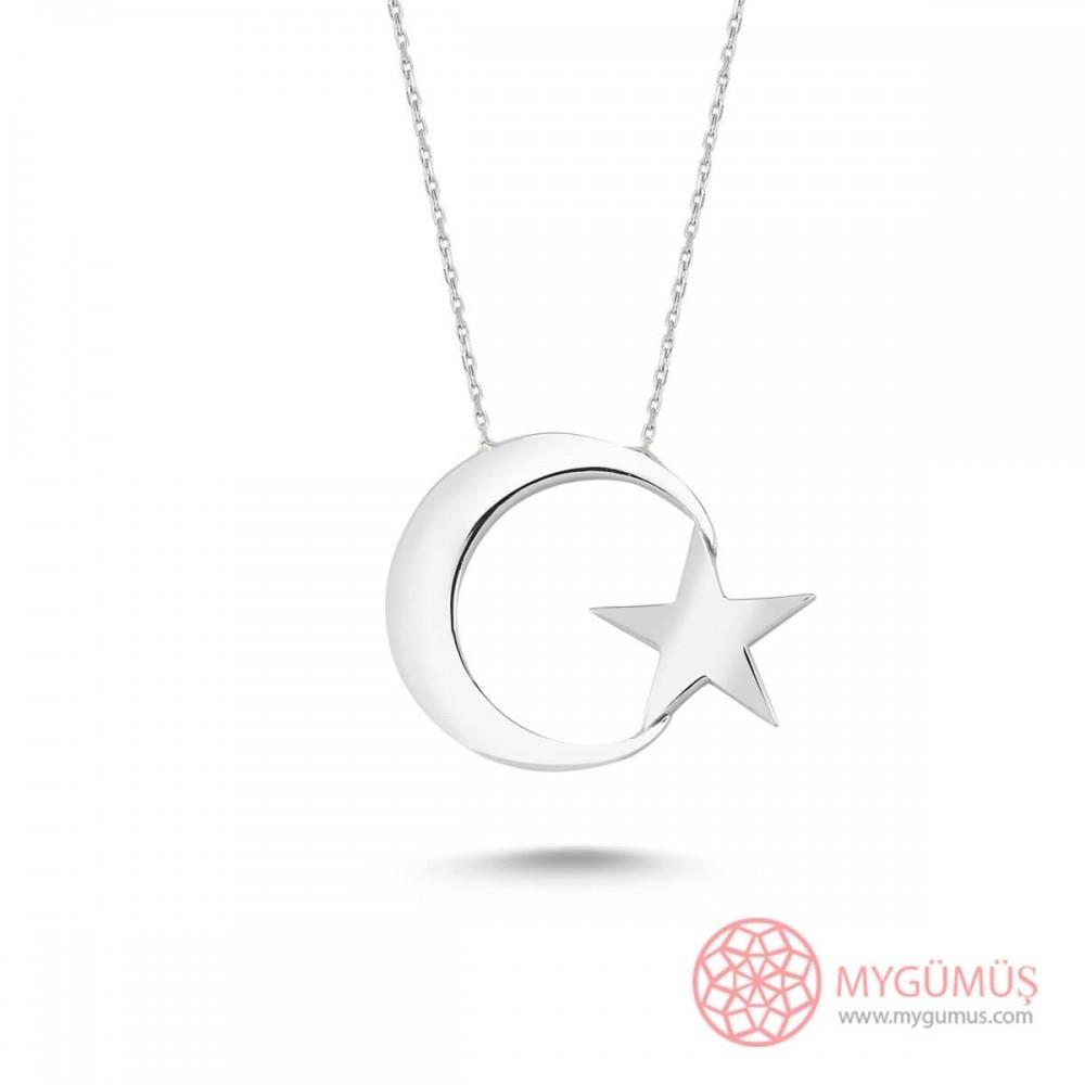 Büyük Ay Yıldız Gümüş Kolye MY101191 9509 Thumb