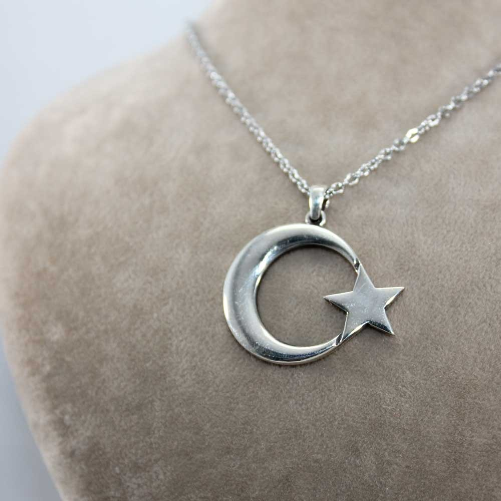 Büyük Ay Yıldız Gümüş Kolye MY0001005 7779 Thumb
