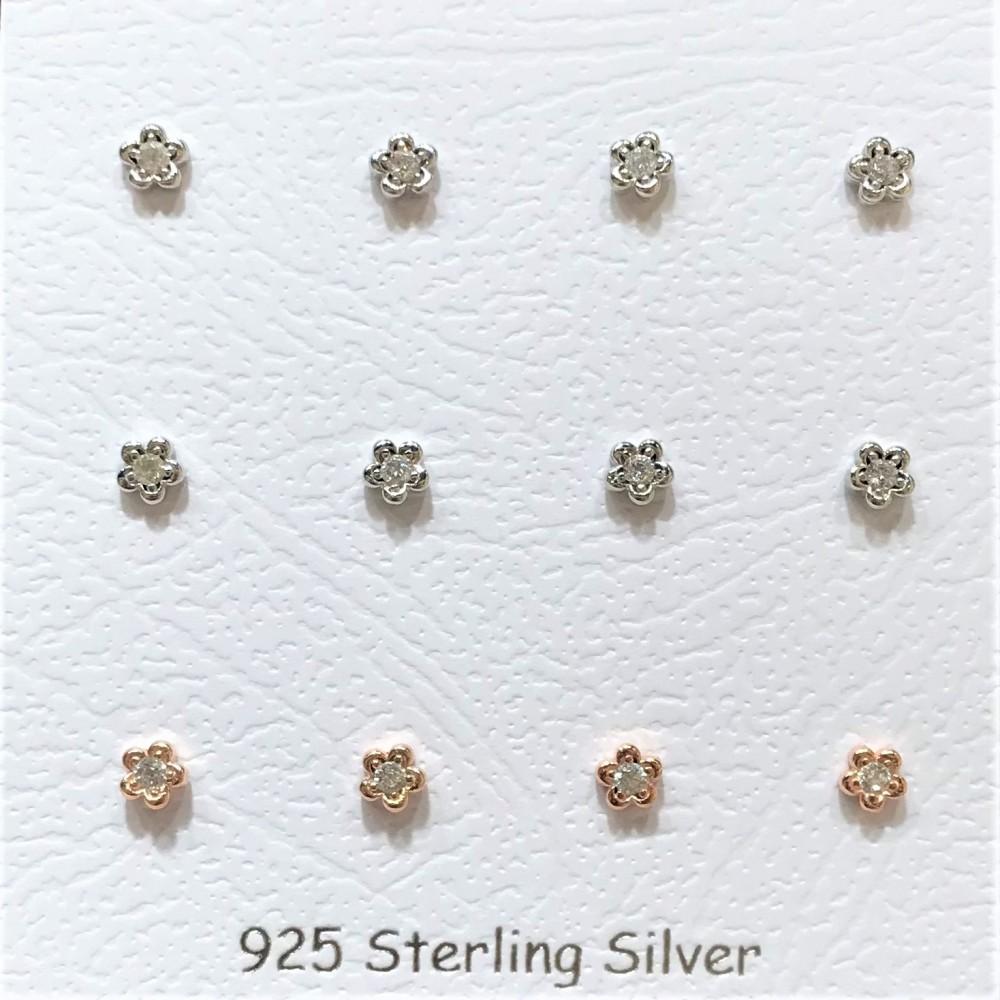 Çiçek Tek Taş Vidalı Gümüş Küpe MY101477 13882 Thumb