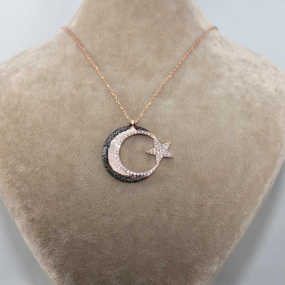 Cimarlı Ay Yıldız Gümüş Kolye MY0301056 7719 Thumb