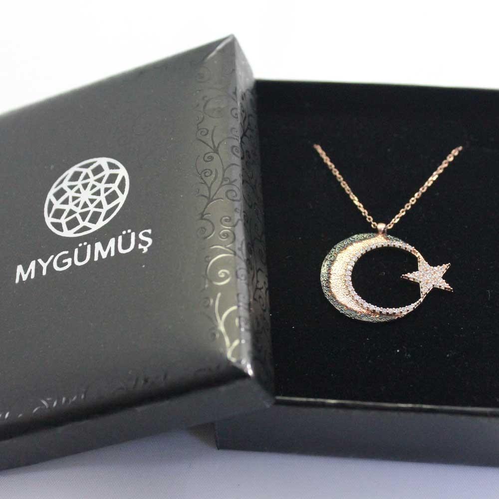 Cimarlı Ay Yıldız Gümüş Kolye MY0301056 7718 Thumb