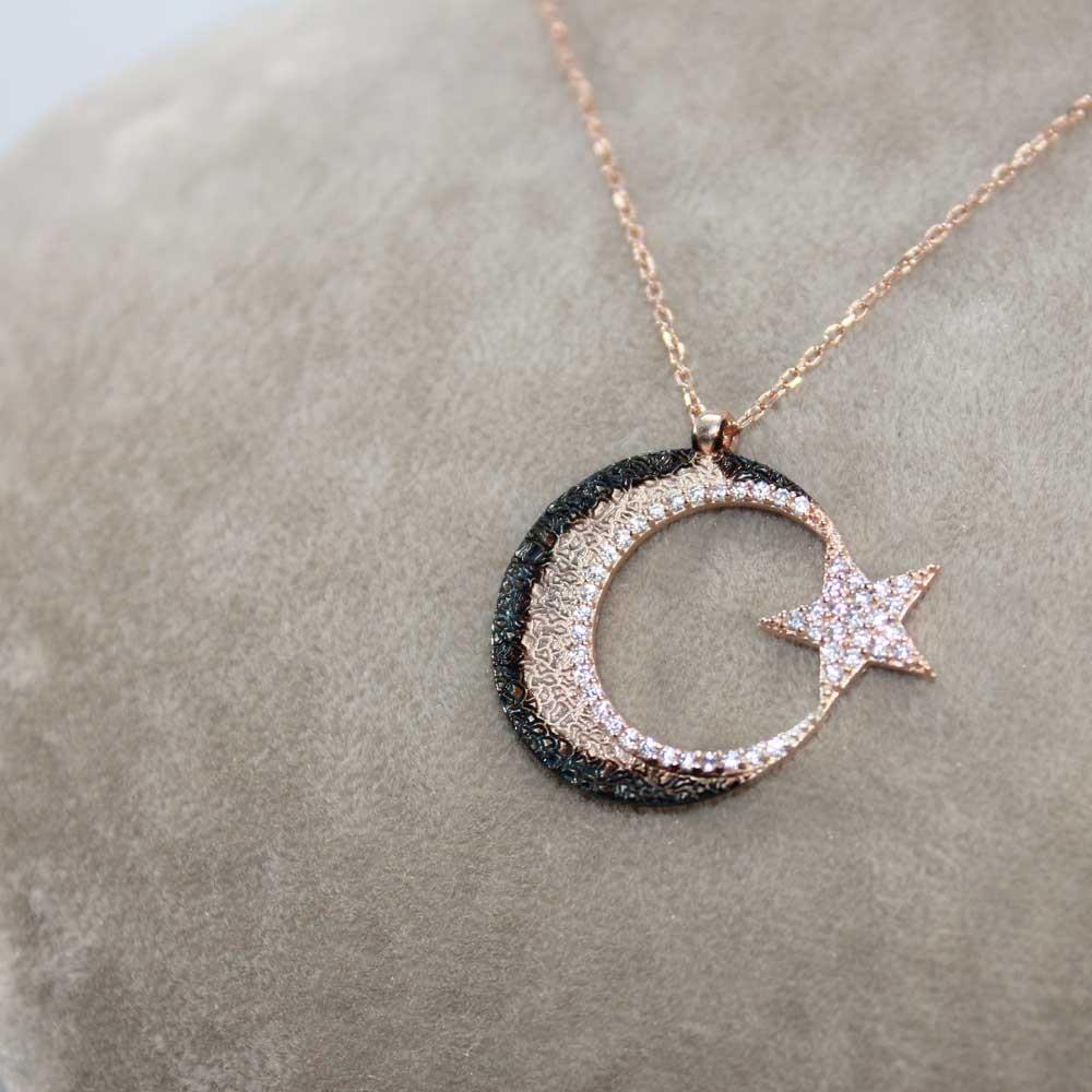 Cimarlı Ay Yıldız Gümüş Kolye MY0301056 7720 Thumb