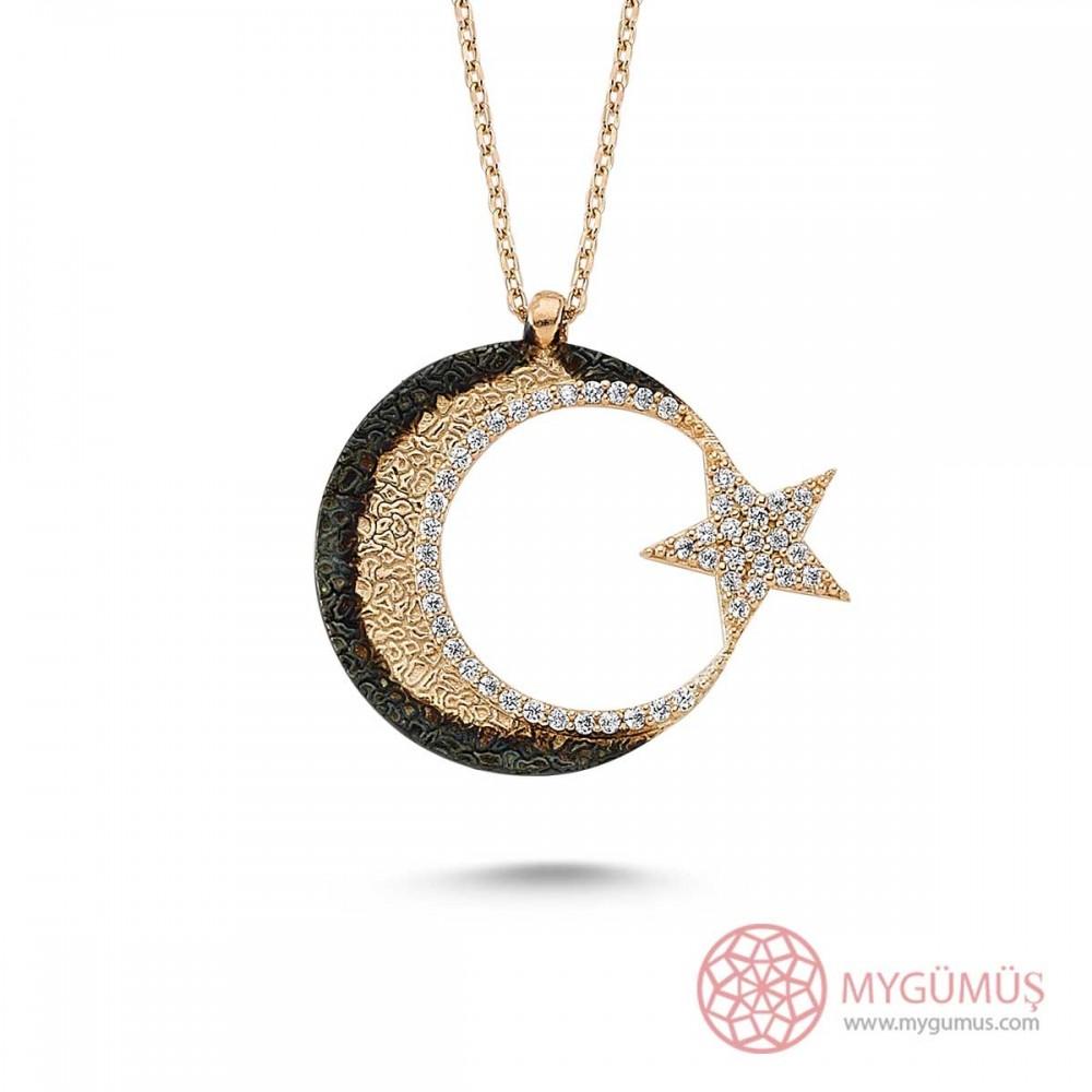Cimarlı Ay Yıldız Gümüş Kolye MY0301056 9495 Thumb