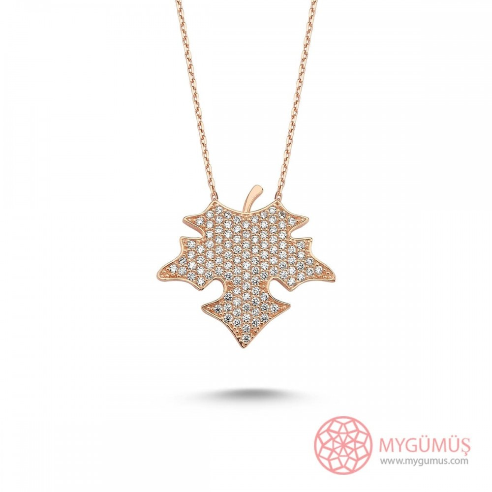Çınar Yaprağı Tasarım Gümüş Kolye MY101664 10031 Thumb