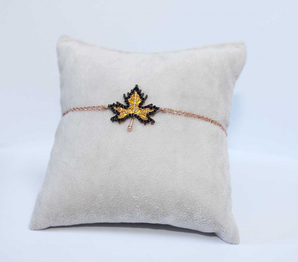 Çınar Yaprağı Rose Gümüş Bayan Bileklik MYB0107 6659 Thumb